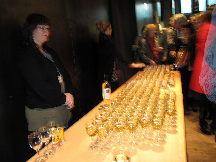 "Reykjavík. Wine glases during the Vernissage ""Power has a Fragrance"". - And Kaja. (21 October 2010)"
