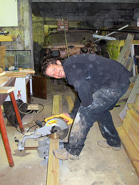Djúpavík. Working on my exhibition. - Sawing the wooden beams for the picture frames. (27 till 29 May 2011)