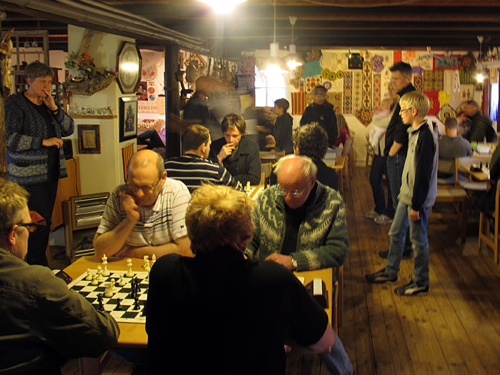 Djúpavík. 4th chess tournament. This time inside the hotel. - Full house tonight. (17 June 2011)