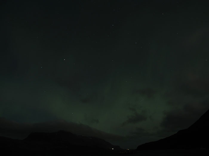 Djúpavík. Green clouds (northern lights). - Still normal ... (10 September 2011)
