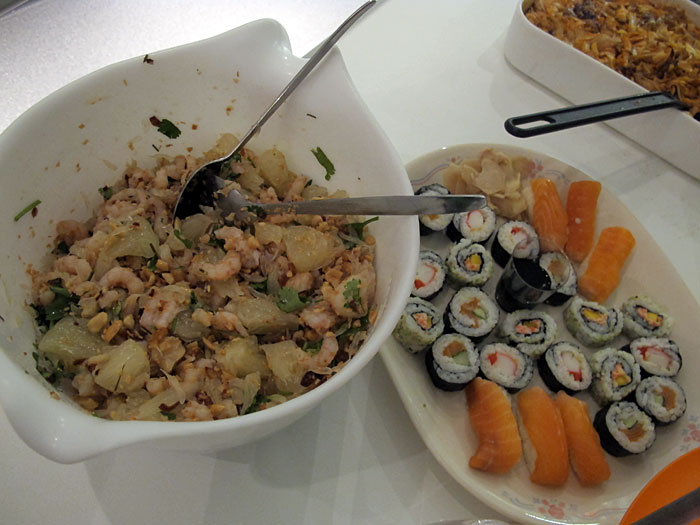 "Reykjavík. Fine dinner ""Þorrablót"". - But more normal food was offered, too: prawn (?) salad and Sushi. (3 February 2012)"