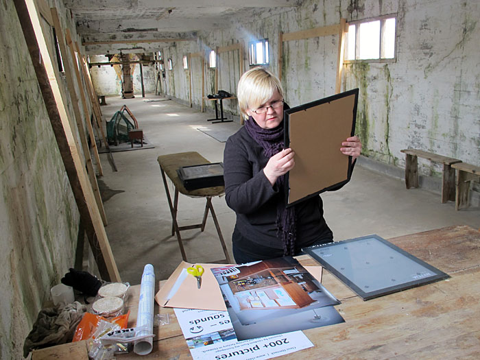 Djúpavík. Preparing our exhibitions. - Kaja, very concentrated doing her work. (26 till 30 May 2012)
