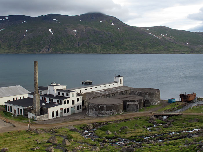 Djúpavík. Happy Birthday, dear Herring factory! - On this day 77 year ago - it was the 7 July 1935 - the <a href='http://www.djupavik.com/en_herringfactory.php' target='_blank' class='linksnormal'>old herring factory in Djúpavík</a> started to operate. This factory was the most modern factory for processing fish in these days, the building was the largest one in Iceland. Up to 200 people worked here. But after less than 20 years the factory had to get closed because of the decrease of herring in the ocean - one reason was overfishing ... (7 July 2012)