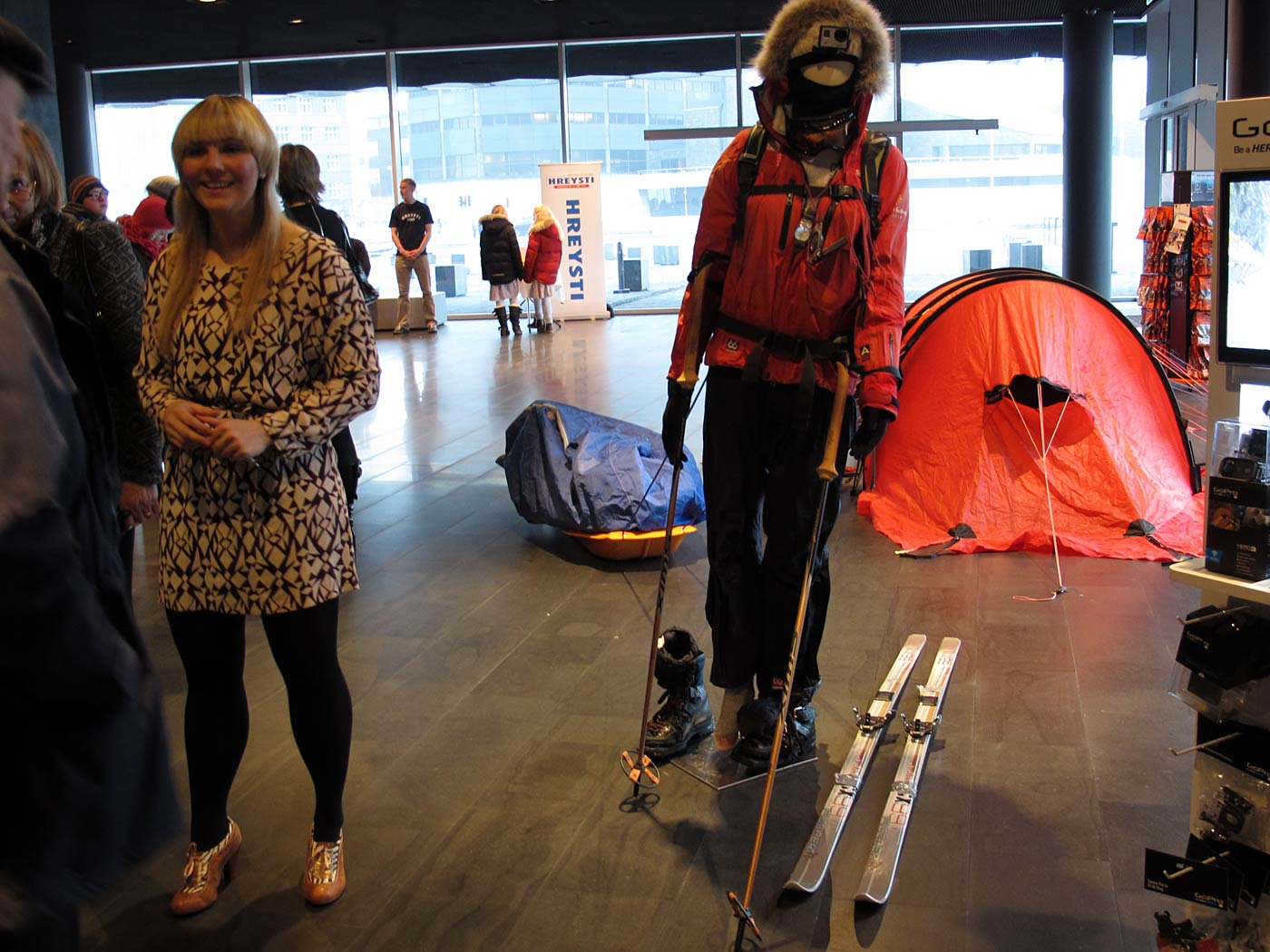 Reykjav&iacute;k. Vilborg A. Gissurard&oacute;ttir, from the south pole to HARPA. - Vilborg A. Gissurard&oacute;ttir (left) was hiking during 60 days from the coast of Antarctica to the south pole. Today she was showing her equipment in HAPRA. More on <a href='http://www.icenews.is/2013/01/21/south-pole-journey-completed-by-icelander-vilborg-arna-gissurardottir/' target='_blank' class='linksnormal'>IceNews</a>. (3 February 2013)