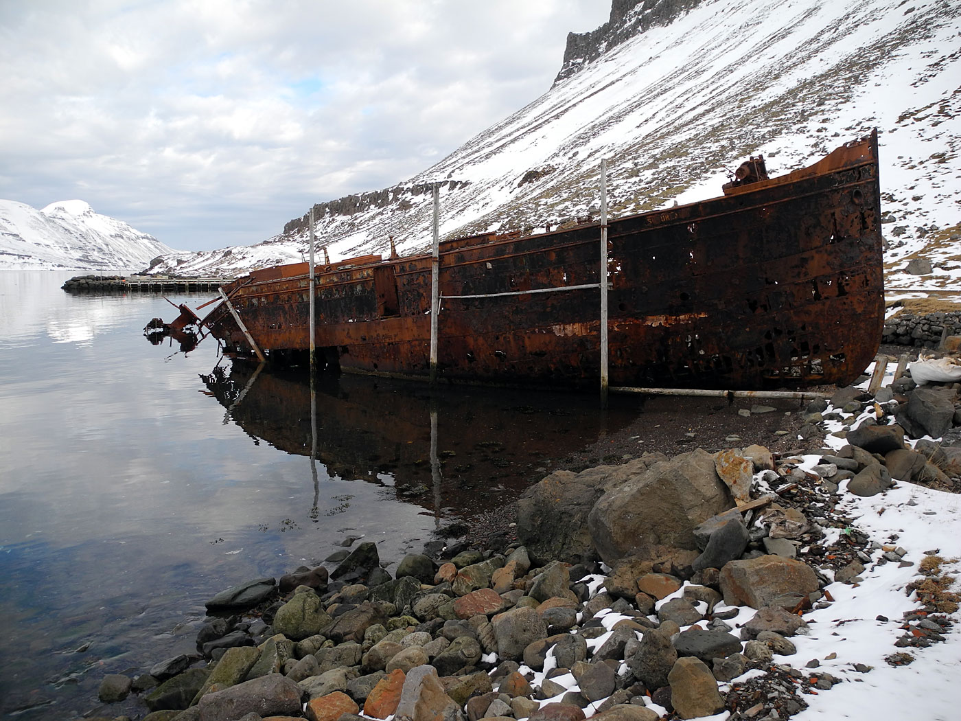 Djúpavík. Around Easter in Djúpavík. Sunday. - The ship M/S Suðurland - getting smaller and smaller. (31 March 2013)