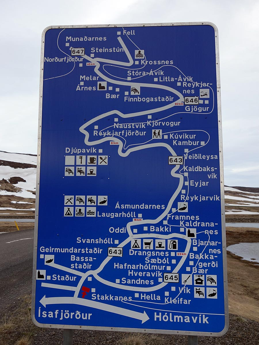 Djúpavík. STEYPA weekend. - Begin of road 643 (ca. 70 km before Djúpavík) you get an nice and 'helpful' overview onto the area up to the end of the road. (18 til 20 May 2013)