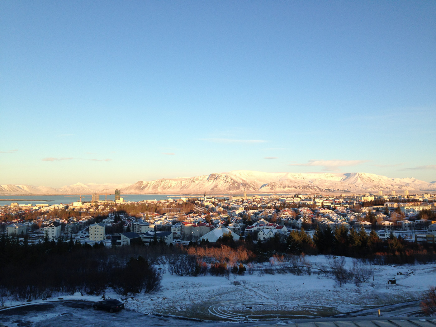 Reykjavík. Miscellaneous XCIII. - Perlan I. View from Perlan to Esja mountain (in a strong sun light). (1 till 31 January 2016)